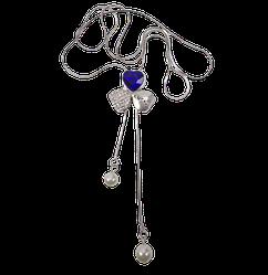 Кулон з ланцюжком Серця з синім каменем і стразами