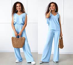 """Летний женский костюм с широкими брюками """"Ясмин""""  Норма и батал"""