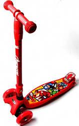 Самокат Maxi Scooter Disney Супер Герої Marvel Avengers з нахилом керма складною ручкою