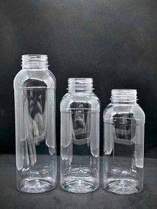 Бутылка одноразовая 250 мл с широким горлом «Квадрат» крышка 38 мм прозрачная