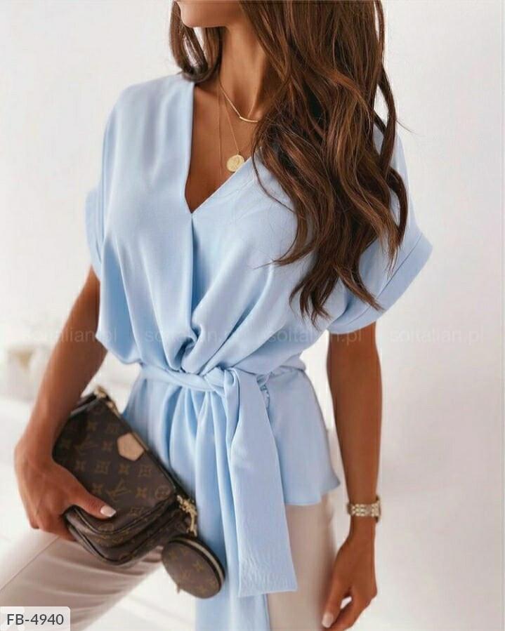 Женская рубашка-туника с поясом