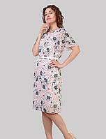 Шифонова жіноче плаття на трикотажній підкладці з елегантними рукавами-крильцями в розмірах 48-54