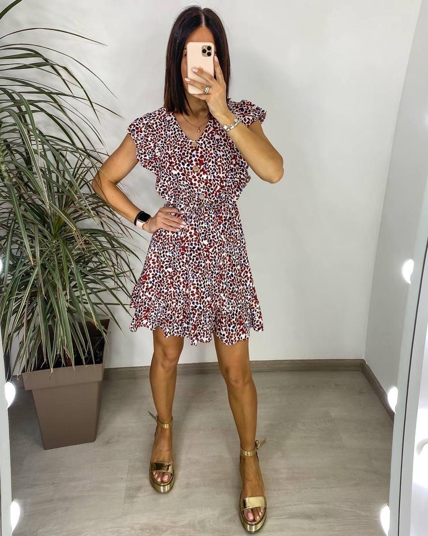 Платье с имитацией пояса и пуговиц