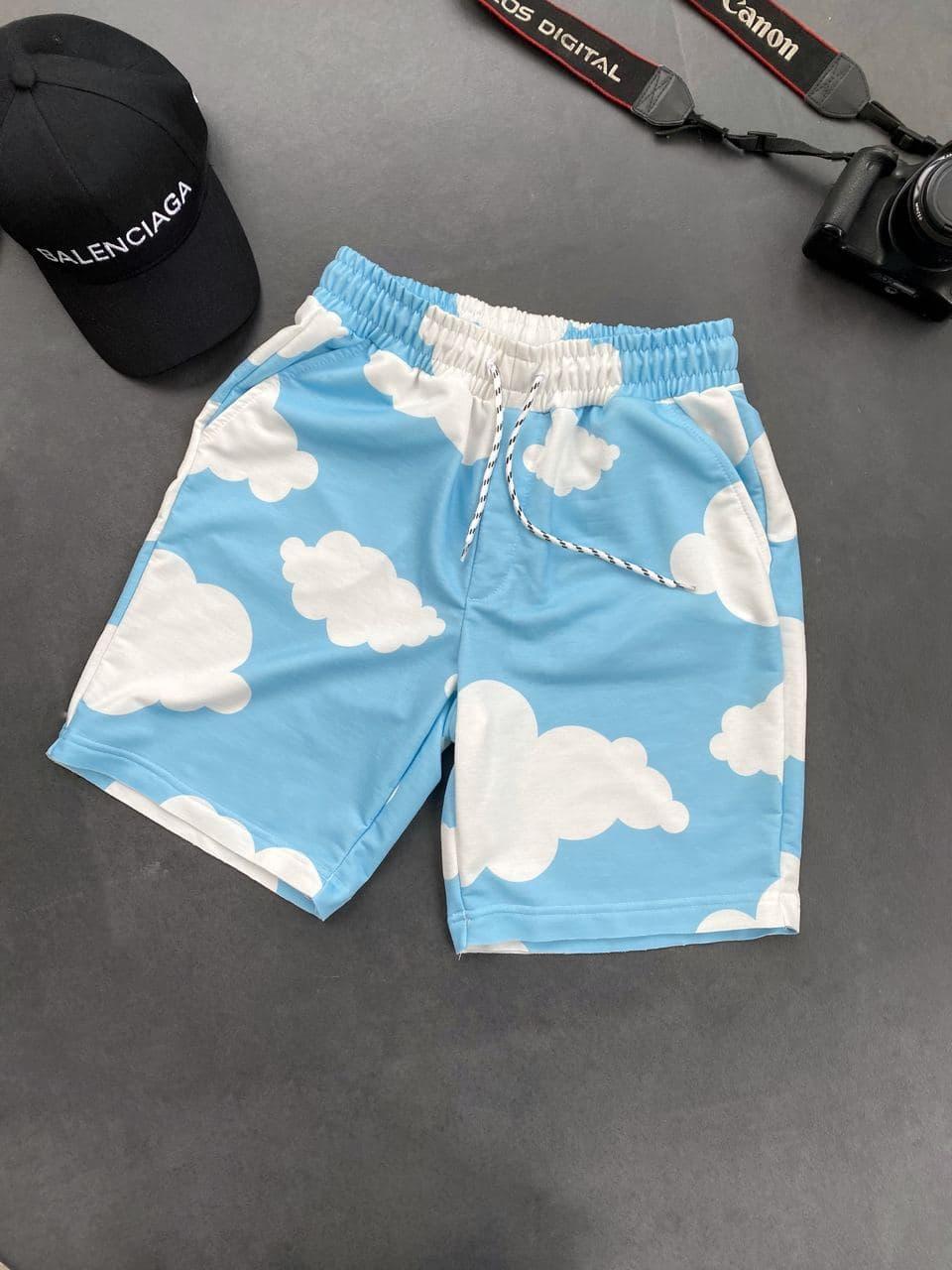 Мужские шорты с облаками (голубые) трикотажные на лето Sk49_шорты