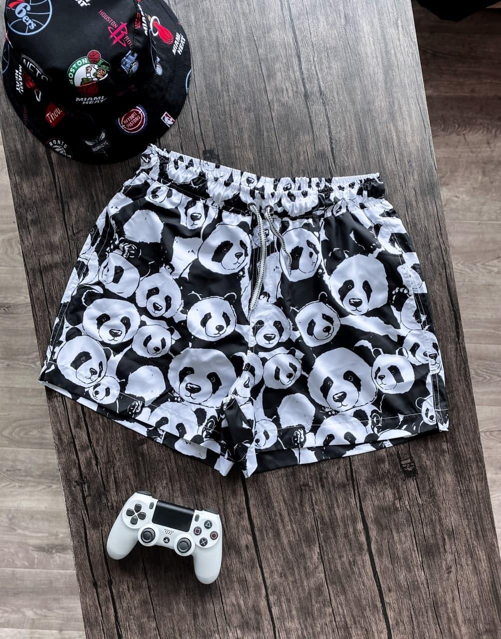Мужские плавательные шорты с пандой (черно-белые) для пляжа на лето Spl2