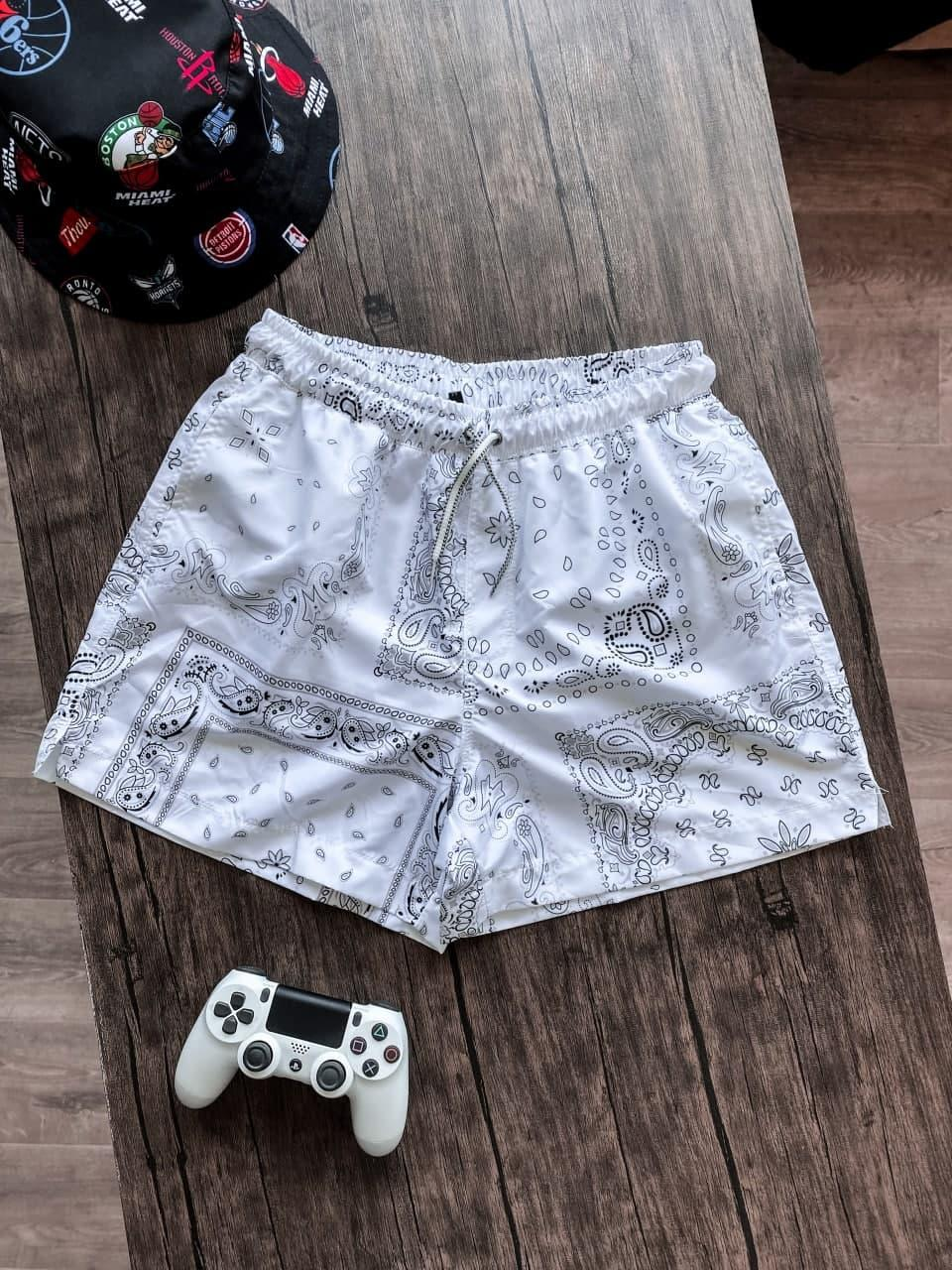 Мужские плавательные шорты с абстракцией (белые) для пляжа на лето Spl4