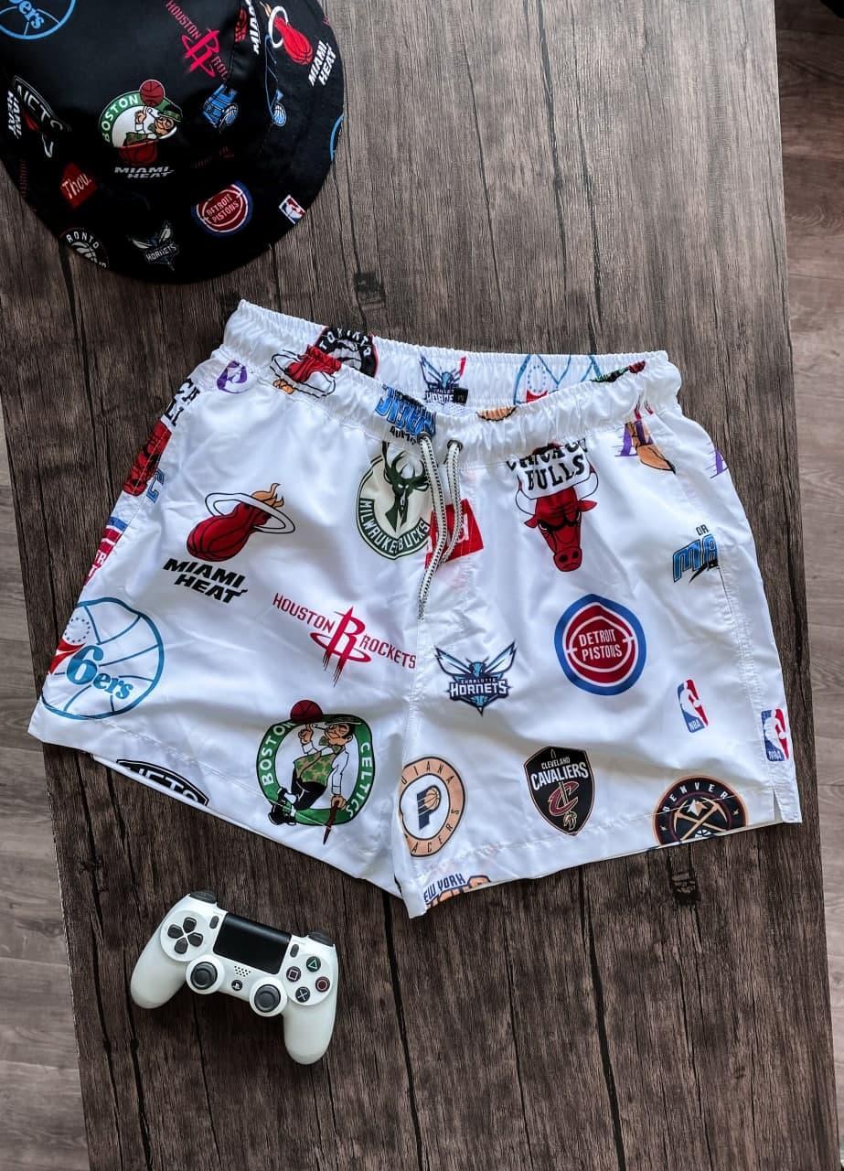 Мужские пляжные шорты с баскетбольными клубными логотипами (белые) плавательные на лето Spl6