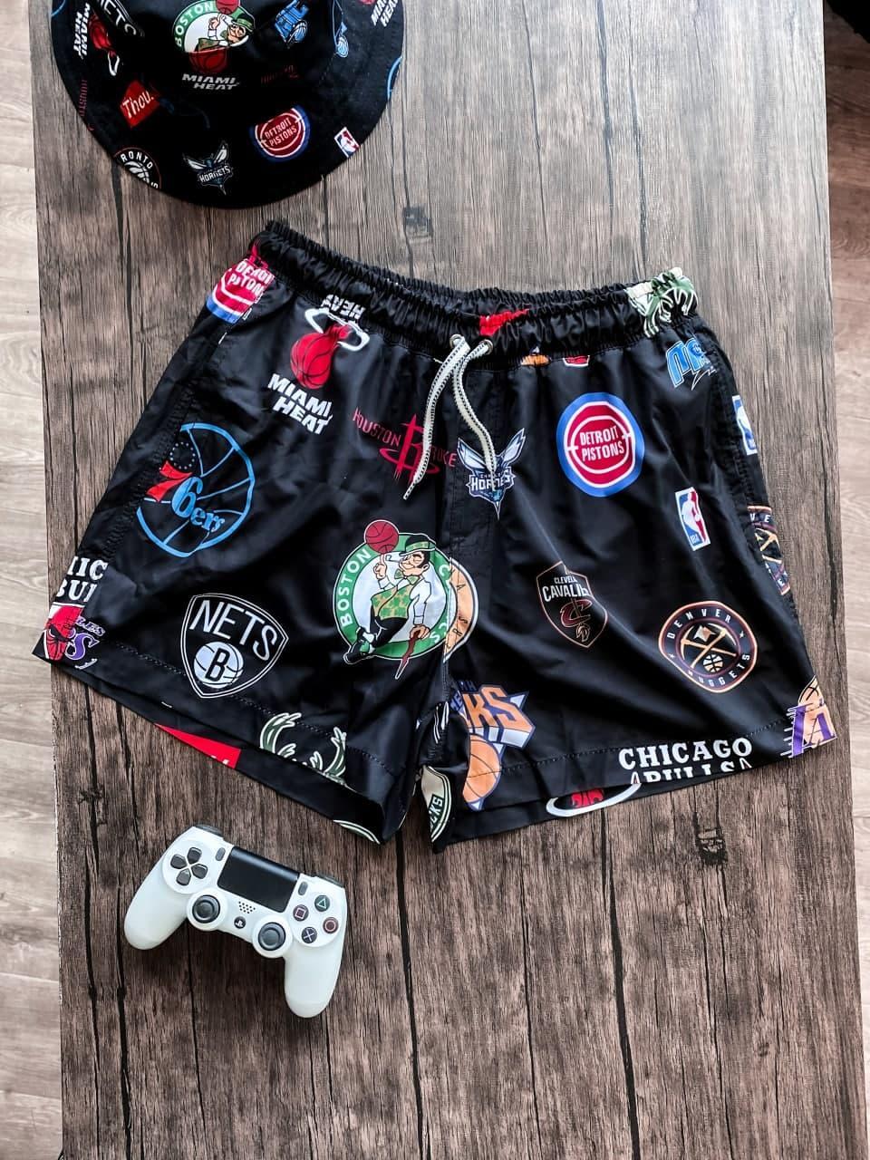 Мужские пляжные шорты с баскетбольными клубными логотипами (черные) плавательные на лето Spl7