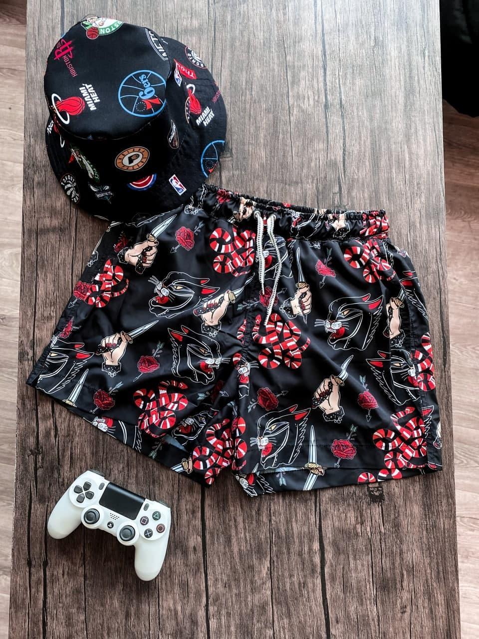 Мужские плавательные шорты с кинжалом (черные) для пляжа на лето Spl10