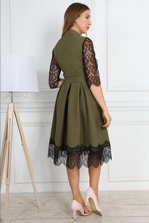 Нарядное женское праздничное платье приталенного покроя с гипюровыми вставками, фото 3