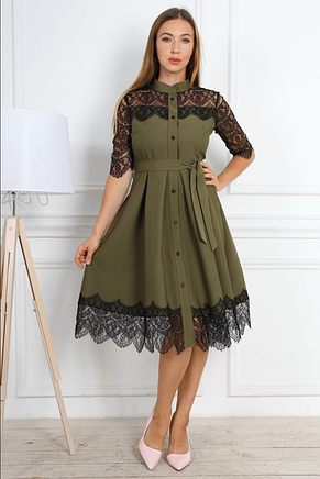 Ошатне жіноче святкове плаття приталеного крою з гипюровыми вставками, фото 2