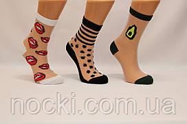 Жіночі шкарпетки середні з капроном і малюнком КАРДЕШЛЕР асорті 3