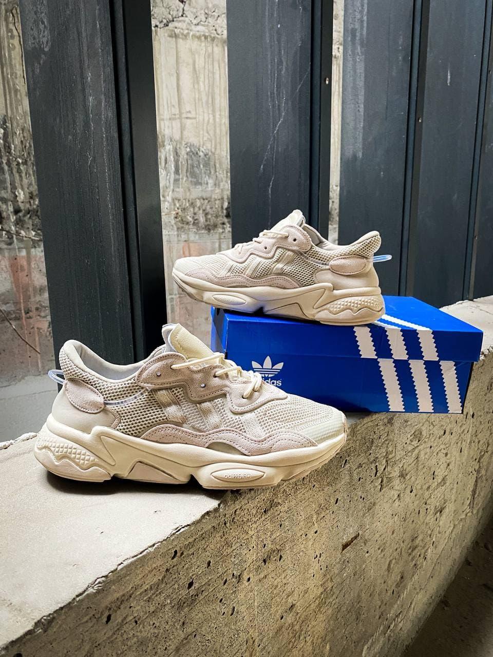 Женские кроссовки Adidas Ozweego Beige (бежевые) К3700 повседневные крутые кроссы