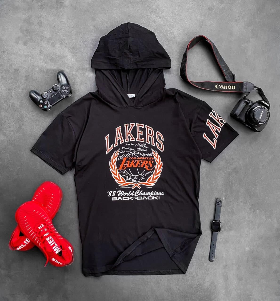 Мужская футболка с капюшоном Lakers (черная) Sfk3