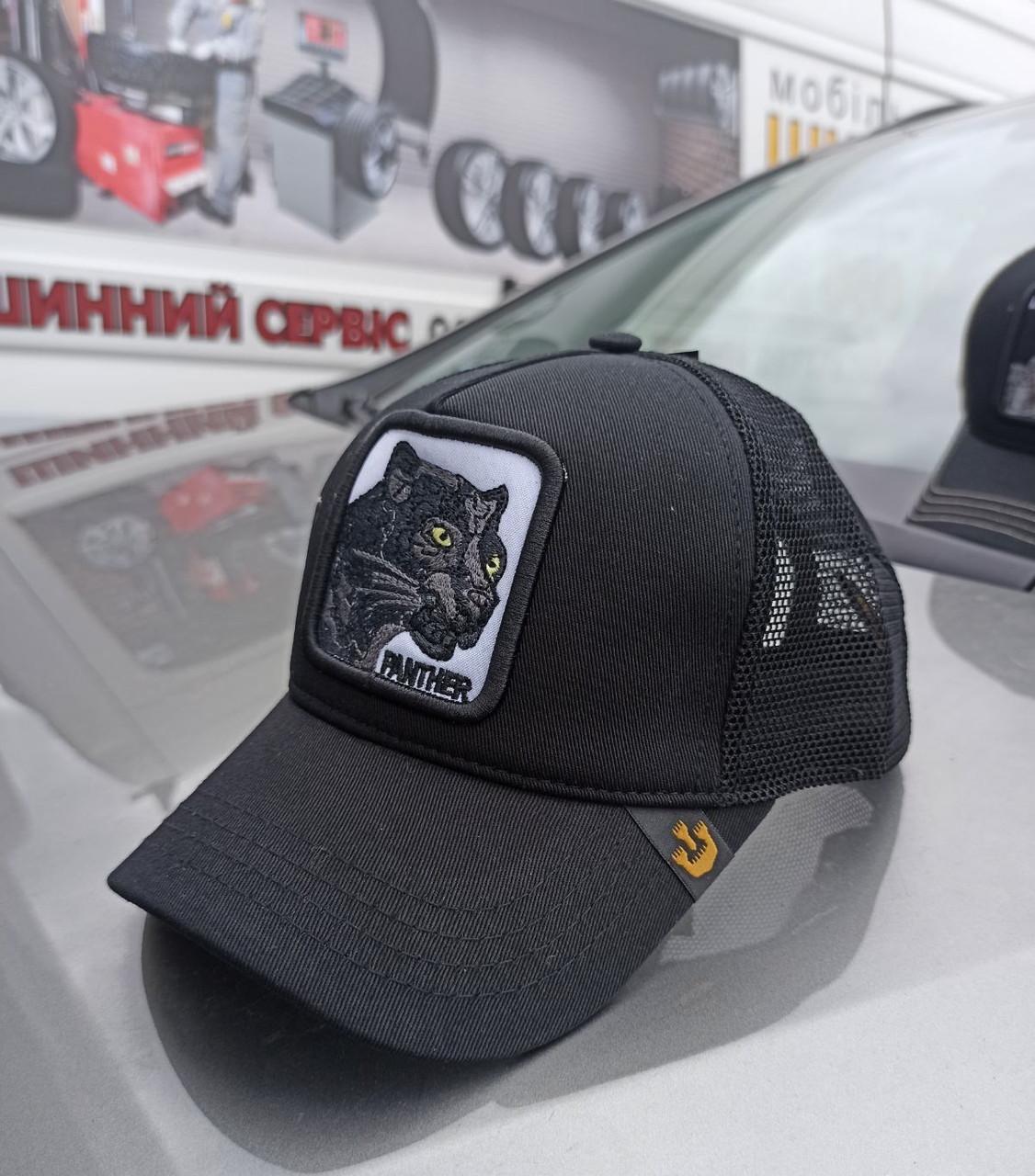 Мужская стильная летняя кепка бейсболка с сеткой удобная Pantera черного цвета