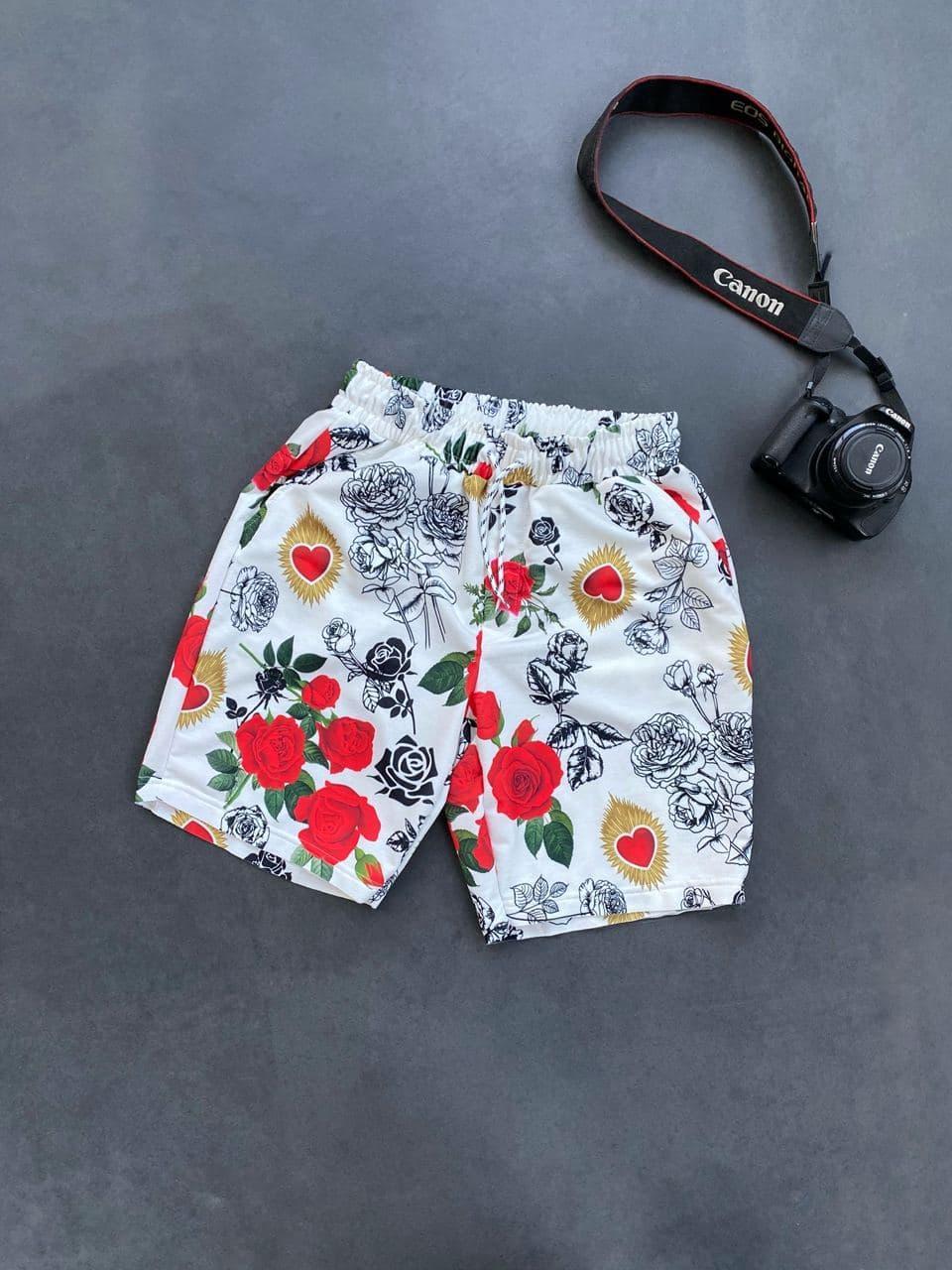 Мужские плавательные шорты с розочками (белые) для пляжа на лето Ssl15