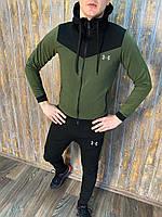 Мужской трикотажный Спортивный костюм Under Armour Андер Армор хаки осенний качество Люкс