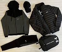 Мужской Спортивный костюм весна- осень Under Armour (Андер Армор) черно-серый ЛЮКС