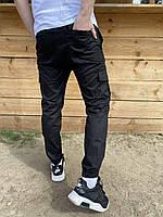 Мужские Брюки с карманами карго весенне-осенние Status черные Штаны ТОП качества