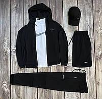 Спортивный костюм трикотажный Nike Кофта + Штаны + Шорты + Футболка + Кепка черный Найк