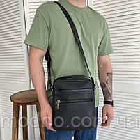 Чоловіча шкіряна сумка на і через плече на два відділення H. T. Leather чорна, фото 2