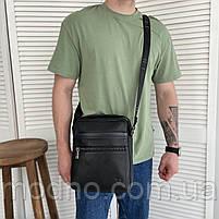 Чоловіча шкіряна сумка на і через плече на два відділення H. T. Leather чорна, фото 3