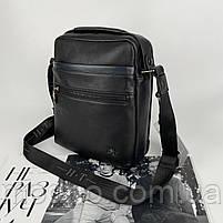 Чоловіча шкіряна сумка на і через плече на два відділення H. T. Leather чорна, фото 6