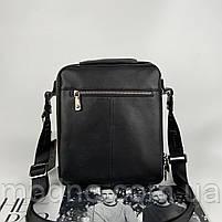 Чоловіча шкіряна сумка на і через плече на два відділення H. T. Leather чорна, фото 7