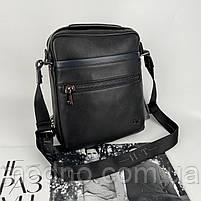 Чоловіча шкіряна сумка на і через плече на два відділення H. T. Leather чорна, фото 4
