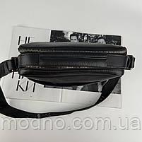Чоловіча шкіряна сумка на і через плече на два відділення H. T. Leather чорна, фото 8
