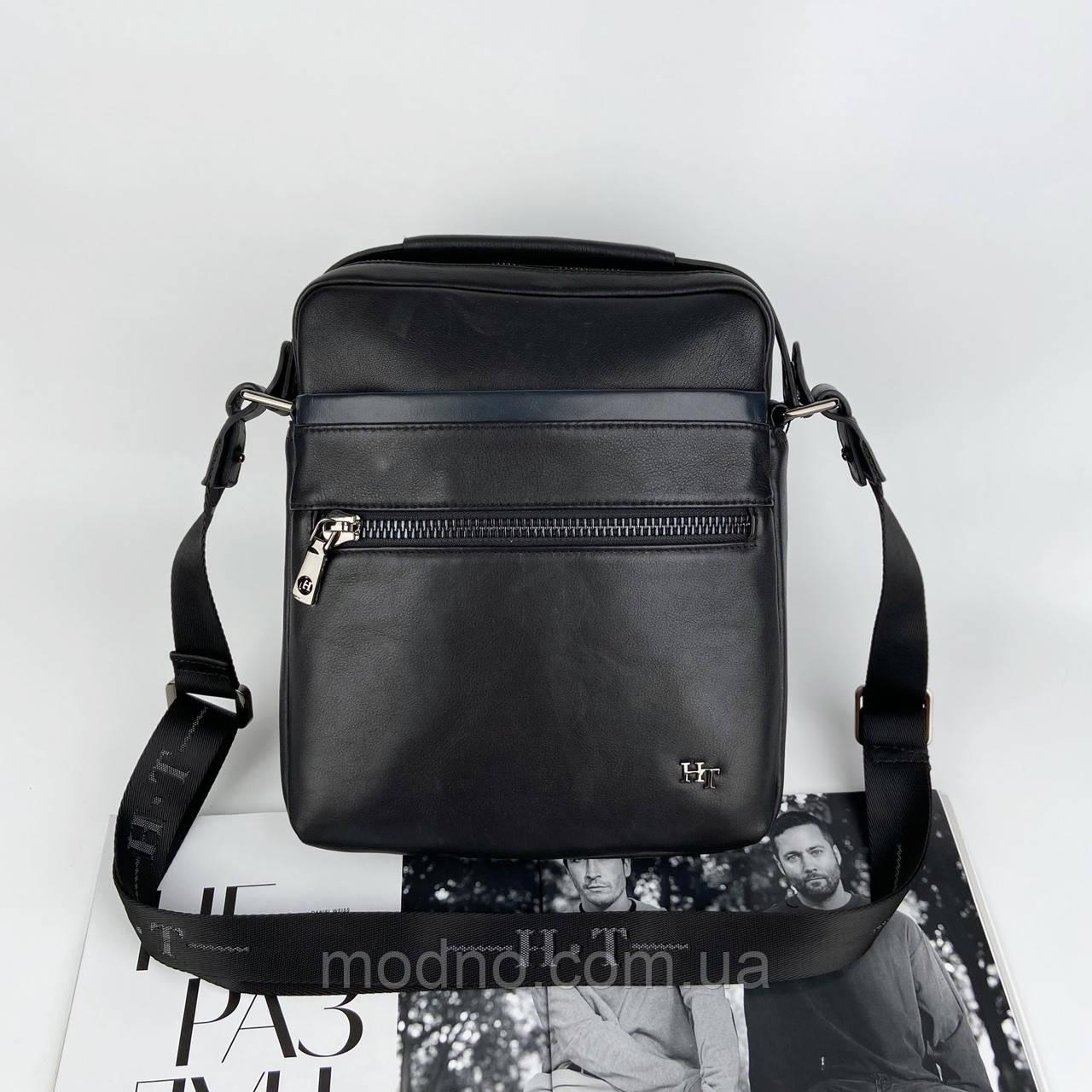 Чоловіча шкіряна сумка на і через плече на два відділення H. T. Leather чорна