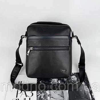 Мужская кожаная сумка на и через плечо на два отделения H.T. Leather чёрная