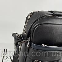 Чоловіча шкіряна сумка на і через плече на два відділення H. T. Leather чорна, фото 5