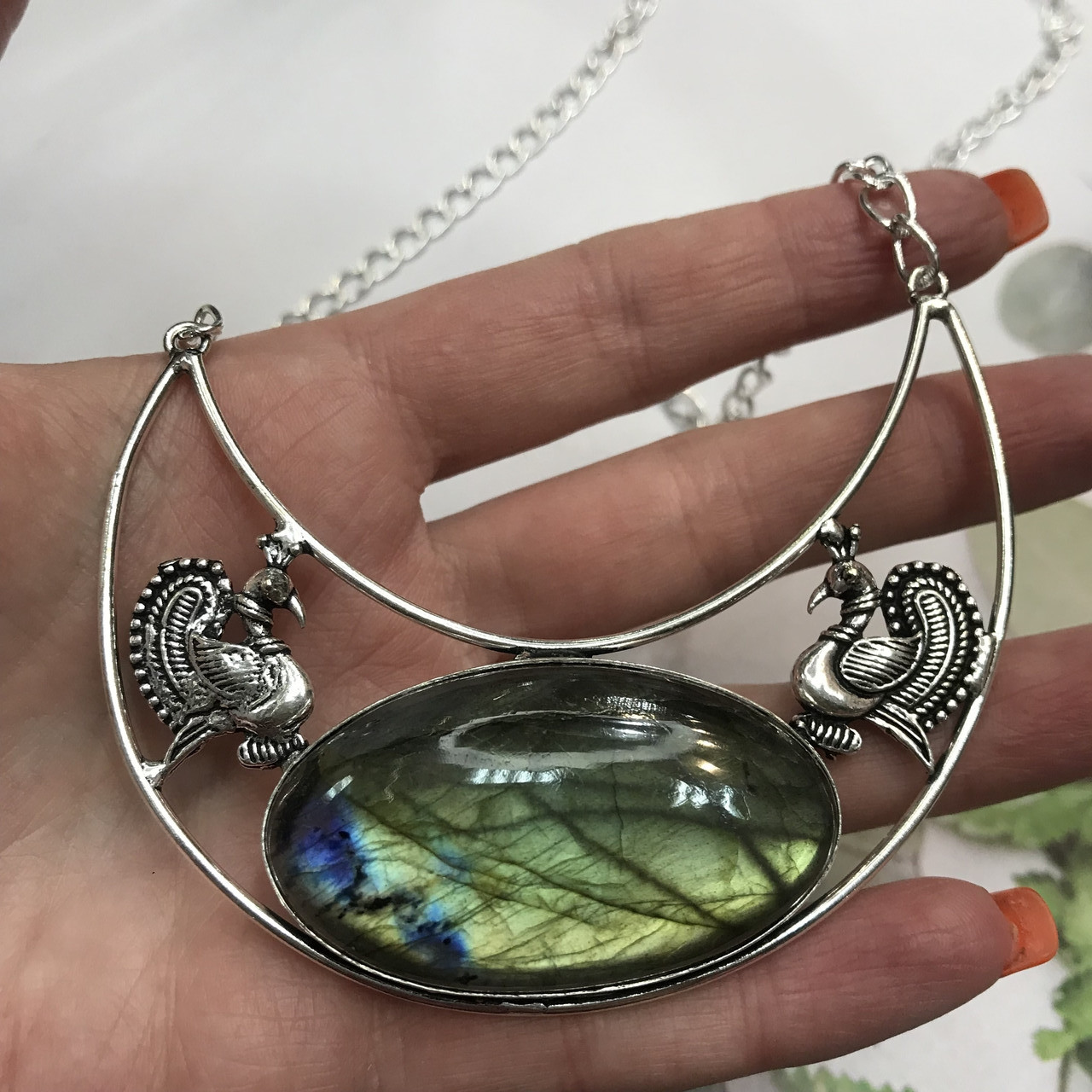 Кольє лабрадор кулон з каменем лабрадор в сріблі натуральний лабрадор намисто з лабрадором Індія