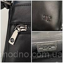 Чоловіча шкіряна сумка на і через плече на два відділення H. T. Leather чорна, фото 10