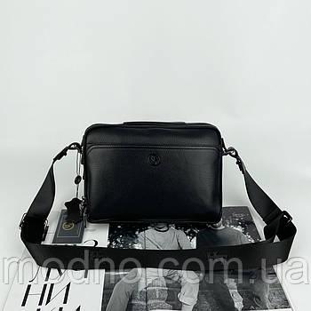 Чоловіча шкіряна сумка на та через плече на два відділення H. T. Leather