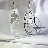 2062 Серебряные сережки Пикассо 925 пробы - комплект сережки и подвес, фото 2