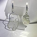 2062 Срібні сережки Пікассо 925 проби - комплект сережки та підвіска, фото 4