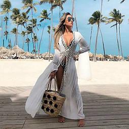 Белое длинное пляжное платье-халат