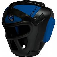 Боксерский шлем тренировочный из Rex кожи RDX синий