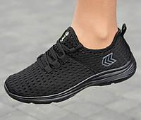 Женские летние кроссовки сетка на лето текстильные молодежные стильные черные 36 размер Restime 20811 2021