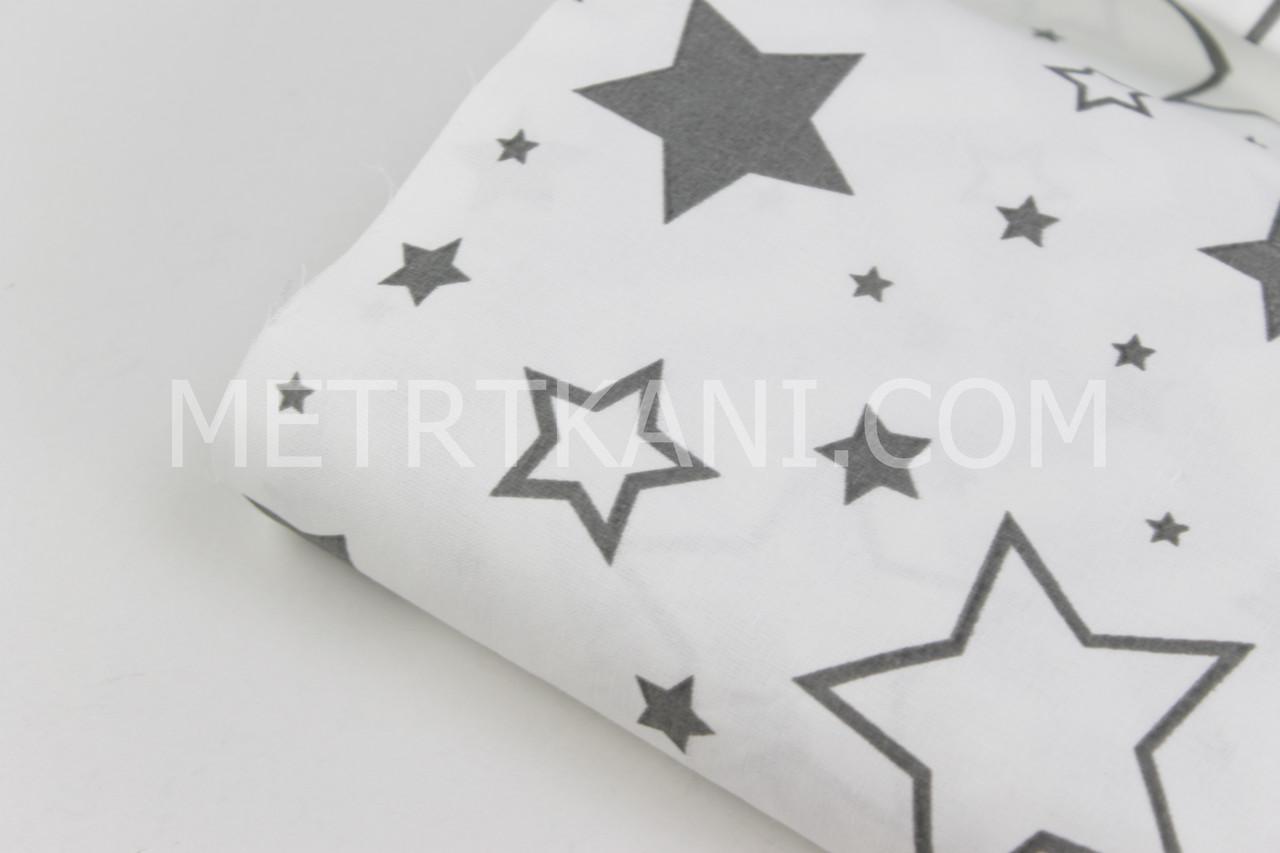 """Лоскуток. Ткань бязь """"Звездопад  контурный серый""""  на белом фоне  115*115 см"""