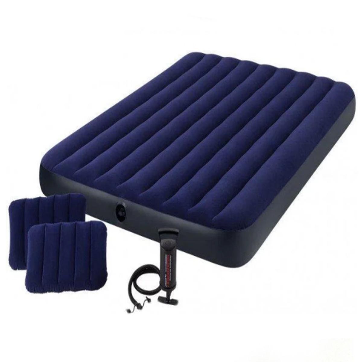 Матрац надувний Intex з насосом + дві подушки 203 х 152 х 25 см