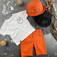 Детская футболка белая с принтом мишка в кармашке BEWARM