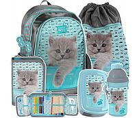 Рюкзак школьный с кошкой для девочки, комплект 5 шт. Paso