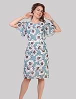 Стильне шифонове плаття в квітковий принт з поясом в збільшених розмірах