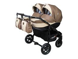 Детская коляска для двойни 2 в 1 Angelina Viper Duo Smart  бежевая 15