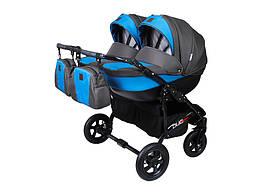 Детская коляска для двойни 2 в 1 Angelina Viper Duo Smart графит-синяя 11