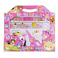 Набор школьных принадлежностей 7 предметов, розовый, Различные наборы для детского творчества