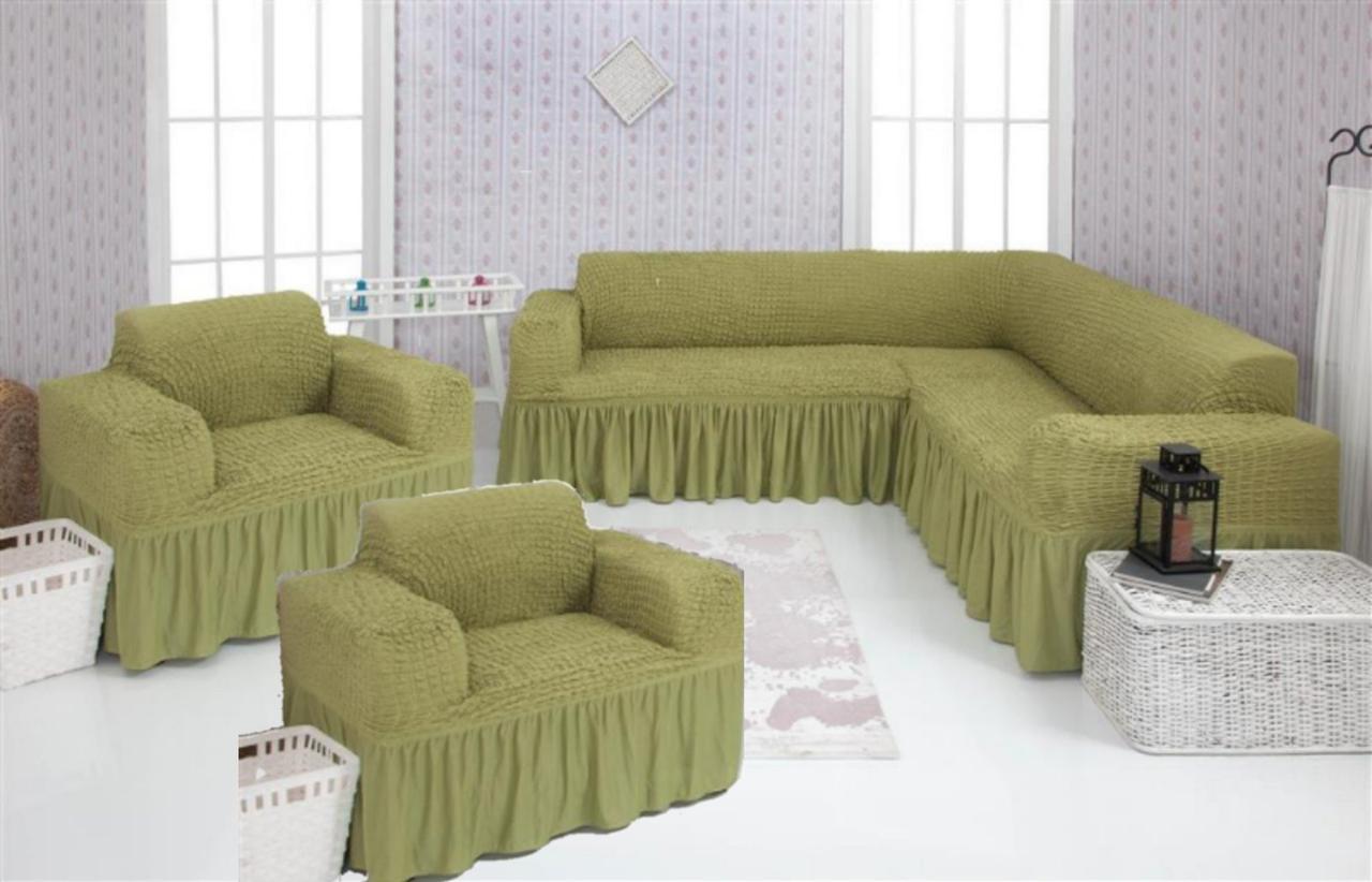 Чехол на угловой диван и 2 кресла с оборкой, натяжной, жатка-креш, универсальный Concordia, Фисташковый